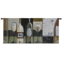 Blanco | Woven Tapestry Wall Art Hanging | Contemporary Modern White Wine Arrangement | 100% Cotton USA Size 53x24 Wall Tapestry