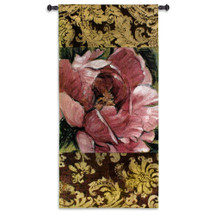 Summer's Bounty | Woven Tapestry Wall Art Hanging | Gorgeous Blooming Pink Flower on Damask | 100% Cotton USA Size 73x35 Wall Tapestry