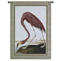 American Flamingo | Woven Tapestry Wall Art Hanging | Minimalist Bird Searching for Food | 100% Cotton USA Size 36x27 Wall Tapestry