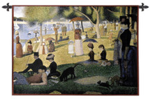 A Sunday Afternoon on the Island of La Grande Jatte by Georges Seurat   Woven Tapestry Wall Art Hanging   Pointillist Parisian Riverside Masterpiece   100% Cotton USA Size 53x34 Wall Tapestry