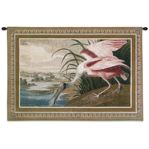 Roseate Spoonbill   Woven Tapestry Wall Art Hanging   Flamboyant Pink Feathered Wading Bird   100% Cotton USA Size 38x27 Wall Tapestry