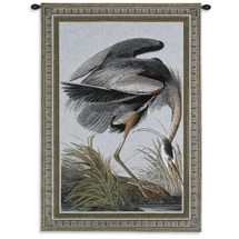 Great Blue Heron by John Audubon | Woven Tapestry Wall Art Hanging | Detailed Framed Bird | 100% Cotton USA Size 36x27 Wall Tapestry
