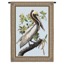 Brown Pelican by Laurie Snow Hein | Woven Tapestry Wall Art Hanging | Florida Everglades Wildlife Artwork on Bright Blue Sky | 100% Cotton USA Size 36x27 Wall Tapestry