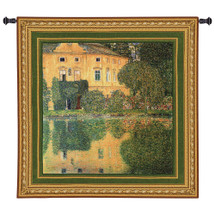 Schloss Kammer am Attersee IV by Gustav Klimt | Woven Tapestry Wall Art Hanging | Impressionist Austrian Castle on Reflective Water | 100% Cotton USA Size 53x53 Wall Tapestry