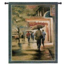 Second Street Drizzle   Woven Tapestry Wall Art Hanging   Night Lights in New York City Evening Rain   100% Cotton USA Size 53x40 Wall Tapestry