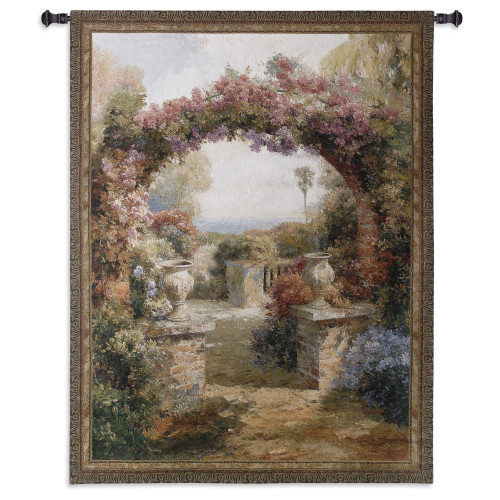 Arch   Woven Tapestry Wall Art Hanging   Lush Seaside Floral Courtyard   100% Cotton USA Size 53x42 Wall Tapestry