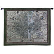 Map of Paris | Woven Tapestry Wall Art Hanging | Vintage Detailed Old City Map | 100% Cotton USA Size 53x42 Wall Tapestry