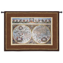 Nova Terrarum Orbis - Woven Tapestry Wall Art Hanging For Home Living Room & Office Decor - Historic European Vintage Map Of 17Th Century World - 100% Cotton - USA 53x73 Wall Tapestry