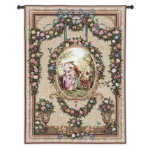 Courtship | Woven Tapestry Wall Art Hanging | Ornate Roses with Romantic Royalty Centerpiece | 100% Cotton USA Size 70x53 Wall Tapestry