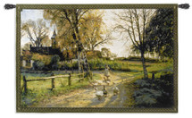 Goose Girl by Peder Monsted | Woven Tapestry Wall Art Hanging | Vibrant Path through Danish Landscape | 100% Cotton USA Size 53x38 Wall Tapestry