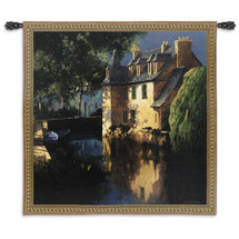 Little Canal Annecy by Max Hayslette - Woven Tapestry Wall Art Hanging for Home & Office Decor - Stately Manor Home With Peaceful Shaded Canal and Accented Tree Landscape - 100% Cotton - USA Wall Tapestry