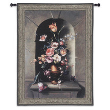 Flowers of Antiquity I by Riccardo Bianchi - Woven Tapestry Wall Art Hanging for Home & Office Decor - Floral Still Life Botanical Accents Charming Beautiful Bloom - 100% Cotton - USA 53X39 Wall Tapestry