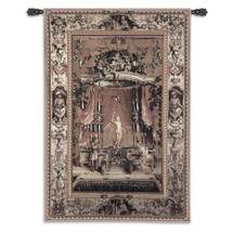 The Offering to Bacchus from the Grotesques Series Wool-Cotton by Jean-Baptiste Monnoyer   Woven Tapestry Wall Art Hanging   Marble Bacchus Statue on Ornate Background   100% Cotton USA Size 76x53 Wall Tapestry