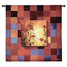 Fine Art Tapestries Poppy Patterns Hand Finished European Style Jacquard Woven Wall Tapestry  USA Size 53x53 Wall Tapestry