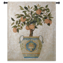 Italian Orange Tree by Gloria Erickson | Woven Tapestry Wall Art Hanging | Ripe Citrus Tree in Mosaic Patterned Decorative Pot | 100% Cotton USA Size 53x43 Wall Tapestry