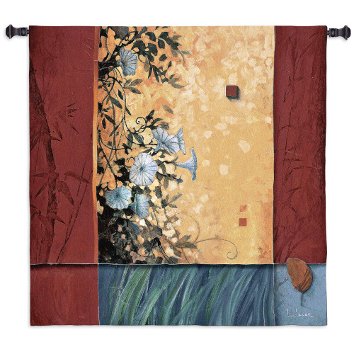 Artist's Garden by Don Li-Leger | Woven Tapestry Wall Art Hanging | Abstract Asian Fusion Hanging Morning Glory Design | 100% Cotton USA Size 53x53 Wall Tapestry