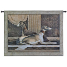 Greyhound Fresco by Elaine Vollherbst | Woven Tapestry Wall Art Hanging | Regal Relaxing Dogs in Brown Tones | 100% Cotton USA Size 53x42 Wall Tapestry