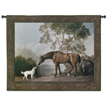 Bay Horse And White Dog By George Stubbs - Woven Tapestry Wall Art Hanging For Home Living Room & Office Decor - George Stubbs Horse Dog Greeting With Nature Rich Earth Tones - 100% Cotton - USA 41X53 Wall Tapestry