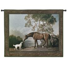 Bay Horse and White Dog by George Stubbs | Woven Tapestry Wall Art Hanging | Rich Earth Equestrian Scene | 100% Cotton USA Size 53x41 Wall Tapestry