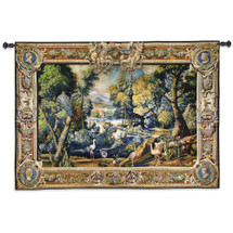 15th Century Landscape | Woven Tapestry Wall Art Hanging | Abundant Medieval Forest with Animals | 100% Cotton USA Size 71x53 Wall Tapestry