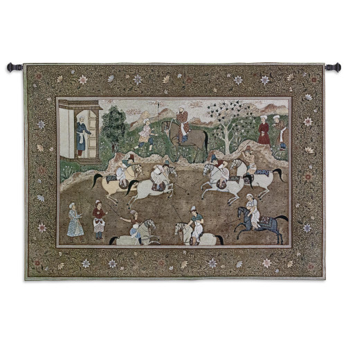 The Polo Match | Woven Tapestry Wall Art Hanging | Lively Asian Horseback Game Woodblock Print | 100% Cotton USA Size 53x38 Wall Tapestry