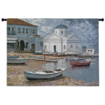 Mykonos I by George W. Bates | Woven Tapestry Wall Art Hanging | Impressionist Greek Waterfront Painting | 100% Cotton USA Size 53x40 Wall Tapestry