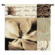 Magnolia Montage by Julie Greenwood | Woven Tapestry Wall Art Hanging | Black and White Floral Design with Inscriptions Scroll Artwork | 100% Cotton USA Size 53x53 Wall Tapestry
