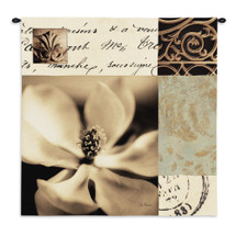 Magnolia Montage By Julie Greenwood - Woven Tapestry Wall Art Hanging For Home Living Room & Office Decor - Botanical Black & White Magnolia Flower Faint Inscriptions Scroll Artwork - 100% Cotton - USA 35X35 Wall Tapestry