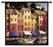 Portofino Waterfront | Woven Tapestry Wall Art Hanging | Boats on Italian Riviera at Sunrise/Sunset | 100% Cotton USA Size 54x53 Wall Tapestry