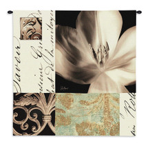 Tulip Montage By Julie Greenwood - Woven Tapestry Wall Art Hanging - Photograph Into Textile Of A Tulip Faint Inscriptions Damask Elements - 100% Cotton - USA 35X35 Wall Tapestry