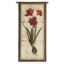 Red Tulip Study II | Woven Tapestry Wall Art Hanging | Crimson Tulip Plant on Aged Natural Background | 100% Cotton USA Size 55x26 Wall Tapestry