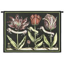 Tulips On Black I by Sally Ray Cairns - Woven Tapestry Wall Art Hanging for Home & Office Decor - Sally Ray Cairns Still Life Floral Study of Budding Flowers Light Black Background - 100% Cotton - USA Wall Tapestry