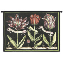Tulips On Black I By Sally Ray Cairns - Woven Tapestry Wall Art Hanging For Home Living Room & Office Decor - Sally Ray Cairns Still Life Floral Study Of Budding Flowers Light Black Background - 100% Cotton - USA Wall Tapestry