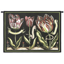 Tulips on Black II by Sally Ray Cairns | Woven Tapestry Wall Art Hanging | Budding Flower Study on Black Background | 100% Cotton USA Size 34x26 Wall Tapestry