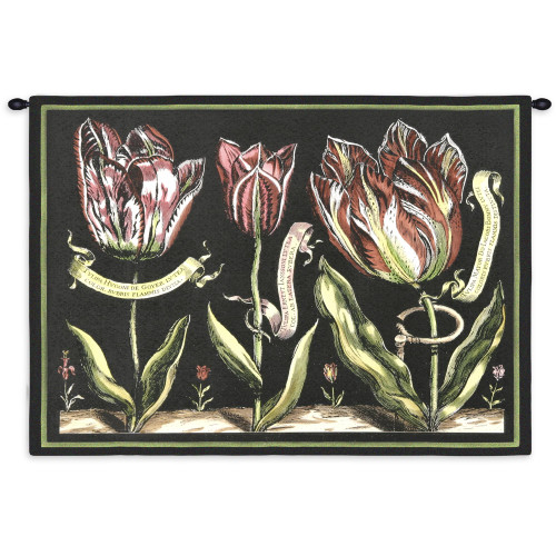Fine Art Tapestries Tulips On Black II Hand Finished European Style Jacquard Woven Wall Tapestry  USA Size 26x34 Wall Tapestry