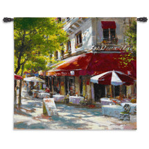 Corner Cafe Ii By Brent Heighten - Woven Tapestry Wall Art Hanging For Home Living Room & Office Decor - Parisian Street Corner Coffee Shop On A Paris Market Street - 100% Cotton - USA Wall Tapestry