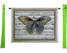 Butterfly Dance I | Woven Tapestry Wall Art Hanging | Antique Butterfly on Sheet Music Score Background | 100% Cotton USA Size 53x41 Wall Tapestry
