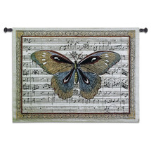 Butterfly Dance I | Woven Tapestry Wall Art Hanging | Antique Butterfly on Sheet Music Score Background | 100% Cotton USA Size 36x27 Wall Tapestry
