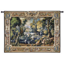 15th Century Landscape Wool and Cotton | Woven Tapestry Wall Art Hanging | Abundant Medieval Forest with Animals | 100% Cotton USA Size 71x53 Wall Tapestry