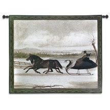 Smart Turnout | Woven Tapestry Wall Art Hanging | Couple Traveling in Horse Drawn Sled | 100% Cotton USA Size 53x43 Wall Tapestry