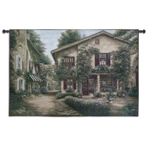 Boulangerie | Woven Tapestry Wall Art Hanging | Inviting Bakery on Gorgeous French Village Street | 100% Cotton USA Size 53x36 Wall Tapestry