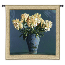 China Blue | Woven Tapestry Wall Art Hanging | Bold White Flowers in Exquisite Blue China Vase Still Life | 100% Cotton USA Size 53x53 Wall Tapestry