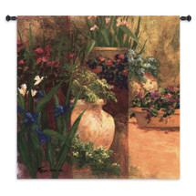 Flower Pots | Woven Tapestry Wall Art Hanging | Impressionist Blooming Floral Panel Artwork | 100% Cotton USA Size 53x53 Wall Tapestry