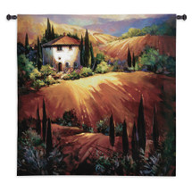 Golden Tuscany by Nancy O'Toole | Woven Tapestry Wall Art Hanging | Impressionist Tuscan Villa Hillside at Sunset | 100% Cotton USA Size 53x53 Wall Tapestry