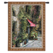 St Moritz Cafe By Roger Duvall   Woven Tapestry Wall Art Hanging   Cobblestoned Village Cityscape Of A Swiss Coffee House   100% Cotton USA 73X53 Wall Tapestry