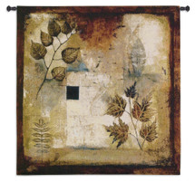Ephemeral Creation by Jae Dougal | Woven Tapestry Wall Art Hanging | Russet Earth Toned Contemporary Leaf Pattern | 100% Cotton USA Size 35x35 Wall Tapestry