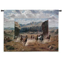 Running Horses | Woven Tapestry Wall Art Hanging | Western Canyon Equestrian Galloping Scene | 100% Cotton USA Size 54x40 Wall Tapestry