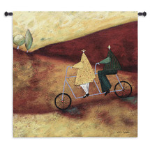 Rolling Home Together by Stacy Dynan - Woven Tapestry Wall Art Hanging for Home & Office Decor - Landscapes Whimsical Colorful People Trees Abstract with Tandem Bicycle - 100% Cotton - USA Wall Tapestry