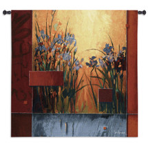 Iris Sunrise by Don Li-Leger | Woven Tapestry Wall Art Hanging | Abstract Asian Fusion Vibrant Irises within Geometric Design | 100% Cotton USA Size 53x53 Wall Tapestry