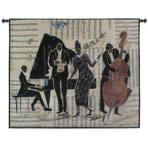 Jam Session II by Tat Vila | Woven Tapestry Wall Art Hanging | Stylized Jazz Quartet on Sheet Music Background | 100% Cotton USA Size 52x43 Wall Tapestry